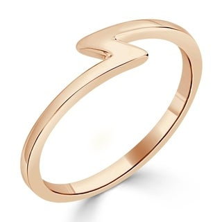 Auriya 10K Gold Petite Ultra-Thin Lightning Bolt Stacking Ring