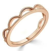 Auriya 10K Gold Vintage-Inspired Milgrain Tiara-Crown Stacking Ring