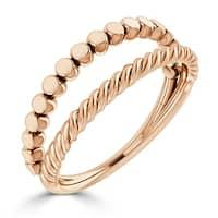 Auriya 10K Gold Twisted Split Rope Style Stacking Ring