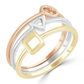 Auriya 10k Tri-Color Gold Geometric Triple Band Stacked Ring