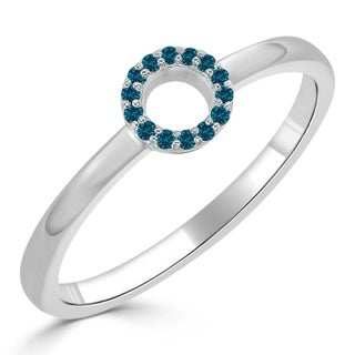 Auriya 10K Gold Geometric Blue Diamond Circle Stackable Ring