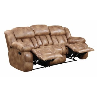 Lyke Home Brown Faux Leather Reclining Sofa