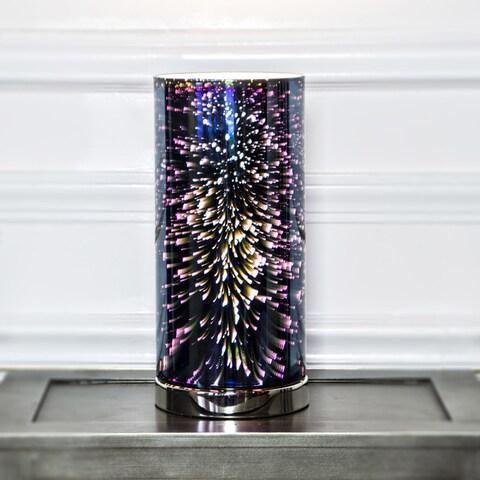 "13""H Mercury Glass Galactic Hurricane Uplight Accent Lamp - Navy"