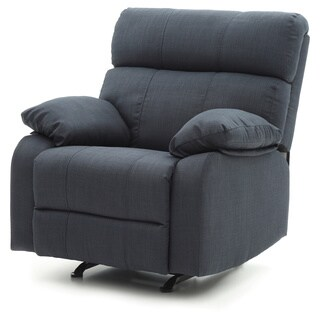 Lyke Home Black Denim Contemporary Rocker Recliner