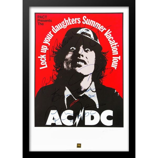 'Summer Vacation Tour' Wood Framed Autographed ACDC Tour Poster