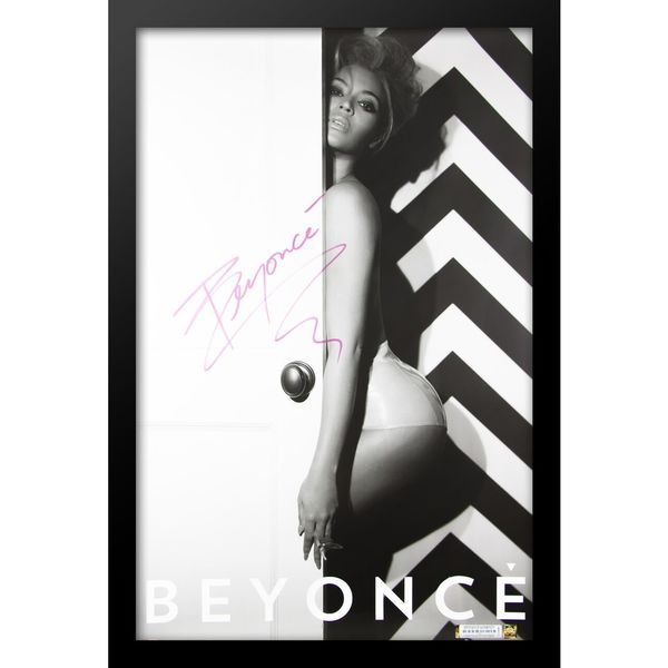 Black Wooden Autographed Beyonce Poster