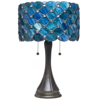 Tiffany Style Bue Jeweled Table Lamp