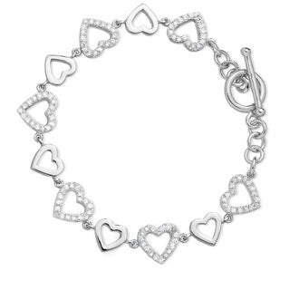 Sterling Silver Rhodium Plated Cubic Zirconia Toggle Heart Bracelet
