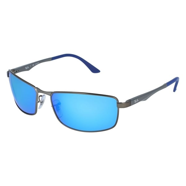 d6aa05f7b2 Shop Ray-Ban Men s RB3498 029 9R Gunmetal Frame Polarized Blue Flash ...
