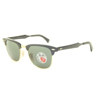 Ray-Ban Unisex RB3507 136/N5 CLubmaster Black Frame Polarized Green Classic G-15 49 mm Lens Sunglasses