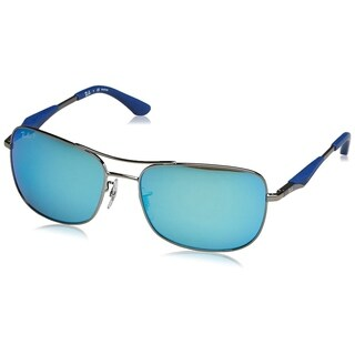 Ray-Ban Men's RB3515 004/9R Gunmetal Frame Polarized Blue Flash 61 mm Lens Sunglasses