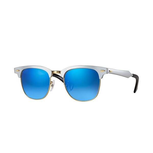 Ray-Ban Unisex RB3507 137 7Q Clubmaster Silver Frame Blue Gradient Flash 51  mm 9a54582d36fae