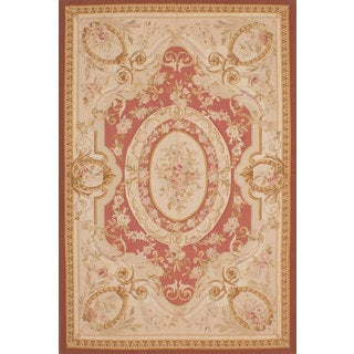eCarpetGallery French Tapestry Blue/Pink Wool Handwoven Sumak Rug (11' x 16')