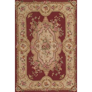 eCarpetGallery French Tapestry Red Hand-knotted Wool Sumak Rug - 4'0 x 6'0