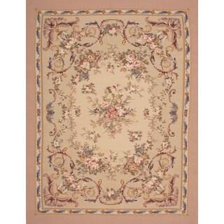 eCarpetGallery French Tapestry Ivory Wool Sumak Handwoven Rug (8'10 x 11'7)
