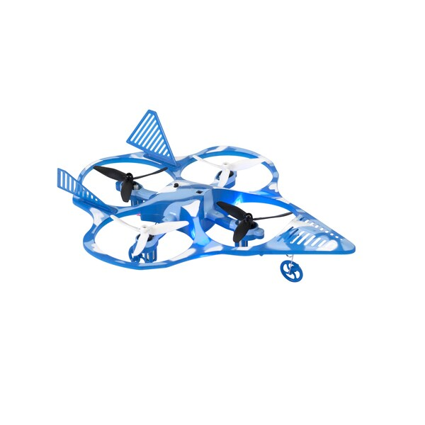 Wonder Chopper Blue Tornado RC Stunt Drone Quadcopter Fighter Jet with 2.4Ghz 6-Axis Gyro 4 CH, and 3 Blade Propellers