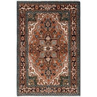 ecarpetgallery Hand-Knotted Royal Heriz Black, Brown  Wool Rug (4'0 x 6'0)