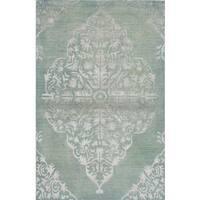 eCarpetGallery Hand-knotted La Seda Green Wool/Art Silk Rug - 5'2 x 7'11