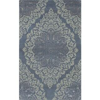 eCarpetGallery Hand-knotted La Seda Blue Wool/Art Silk Rug - 4'11 x 7'11
