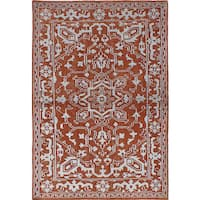 eCarpetGallery La Seda Orange Hand-knotted Wool/Art Silk Rug - 4'5 x 6'9