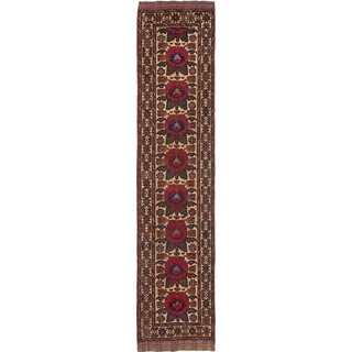 eCarpetGallery Ghafkazi Ivory/Red Hand-knotted Wool Rug (2'7 x 11'10)