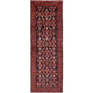 eCarpetGallery Mahal Black/Red Hand-knotted Wool Rug (3'4 x 9'8)