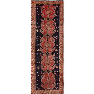 eCarpetGallery Meshkin Black/Red Wool/Cotton Hand-knotted Meshkin Rug (4'8 x 13'7)