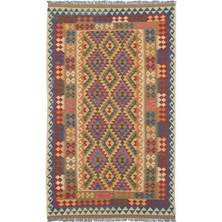 eCarpetGallery Hereke Red/Yellow/Brown Wool Kilim (5'1 x 8'9)