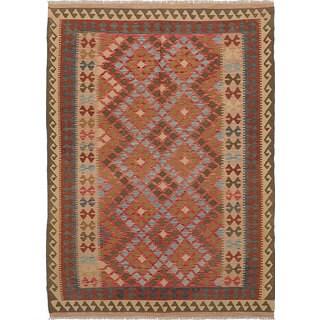 eCarpetGallery Anatolian Kilim Red Wool Flatweave Kilim (6'7 x 9')