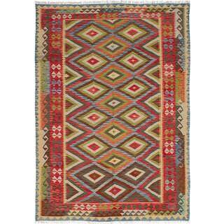 eCarpetGallery Flatweave Sivas Green/Red Wool Kilim Rug (6' x 8'8) (Option: Green)