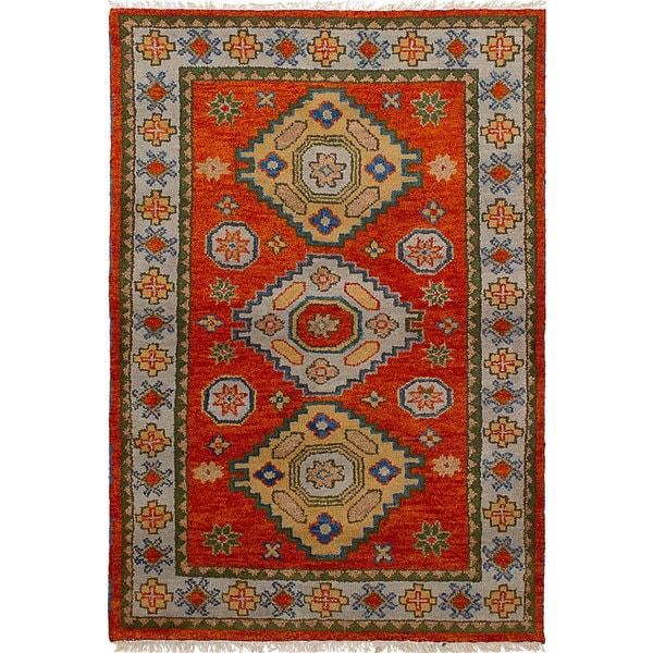 Ecarpetgallery Hand Knotted Royal Kazak Orange Wool Rug 4