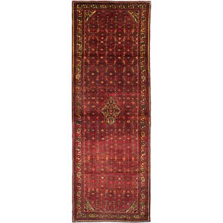 eCarpetGallery Hosseinabad Red Hand-knotted Wool Rug (3'5 x 9'11)