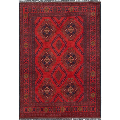 ecarpetgallery Hand-Knotted Finest Khal Mohammadi Red Wool Rug (3'3 x 4'7)