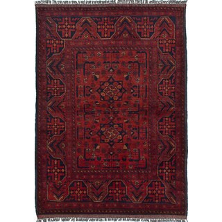 ecarpetgallery Hand-Knotted Finest Khal Mohammadi Red  Wool Rug (3'4 x 4'10)