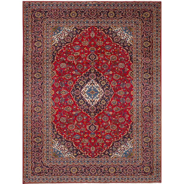 Shop Ecarpetgallery Hand Knotted Persian Kashan Red Wool: Shop ECarpetGallery Kashan Red Wool Hand-knotted Area Rug