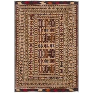 ecarpetgallery Flatweave Shiravan Sumak Ivory  Wool Sumak (4'4 x 5'3)