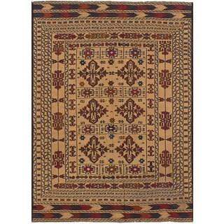 ecarpetgallery Flatweave Shiravan Sumak Brown  Wool Sumak (4'3 x 6'3)