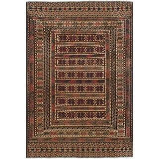 ecarpetgallery Flatweave Shiravan Sumak Ivory, Red  Wool Sumak (4'2 x 6'4)