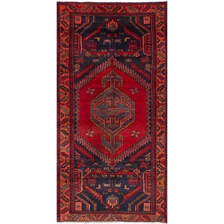 eCarpetGallery Hand-knotted Zanjan Blue/Red Wool Rug (3'8 x 7'6)