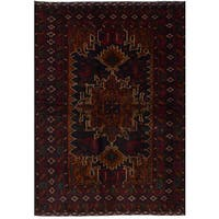 eCarpetGallery Rizbaft Blue/Red Wool Hand-knotted Rug (4'2 x 6'7)