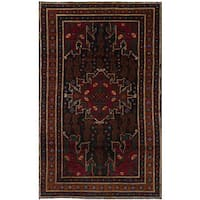 eCarpetGallery Hand-knotted Rizbaft Blue/Red Wool Rug (3'7 x 6'3)