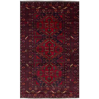 eCarpetGallery Rizbaft Red Wool Hand-knotted Rug (3'8 x 6'7)