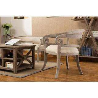 Burnham Home Designs Linda Beige Wood/ Linen Upholstered Accent Chair