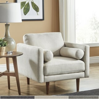 Oana Oatmeal Mid-Century Tapered Leg Chair with Pillows by iNSPIRE Q Modern