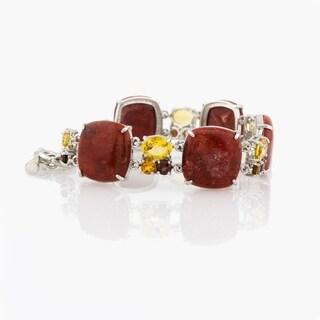 Pangea Mines Sponge Coral, Citrine and Garnet Toggle Bracelet - Red
