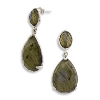 Pangea Mines Labradorite Drop Earrings - Green