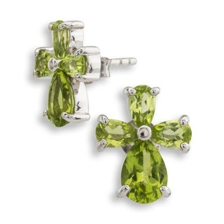 Pangea Mines Peridot Cross Earrings - Green