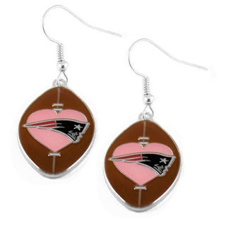 New England Patriots NFL Dangle Pink Heart Football Earring Set