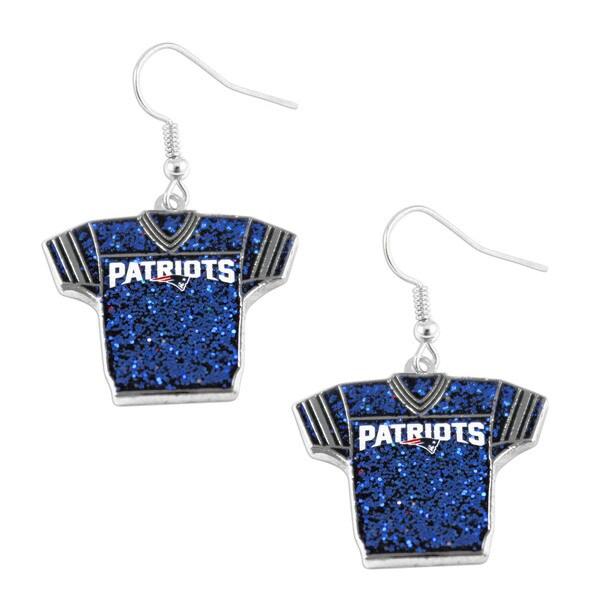 NFL New England Patriots NFL Glitter Jersey Dangle Earring Set Charm Gift