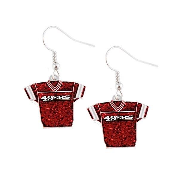 NFL SF SAN Francisco 49ers Glitter Jersey Charm Dangle Earring Set
